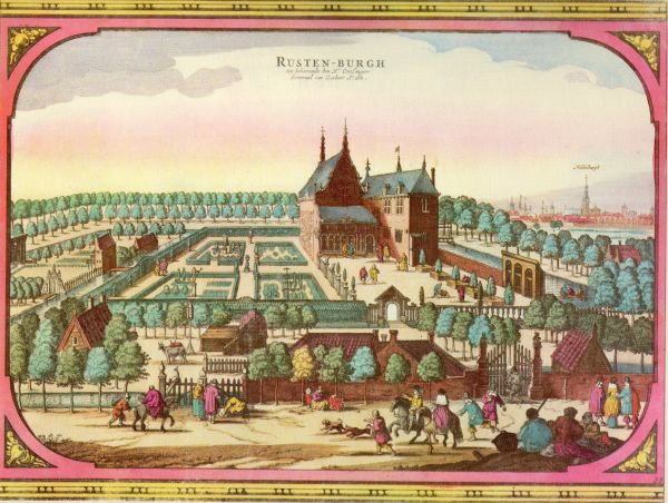 De buitenplaats Rusten-Burgh bij Middelburg. Gravure uit Speculum Zelandiae, ca. 1660